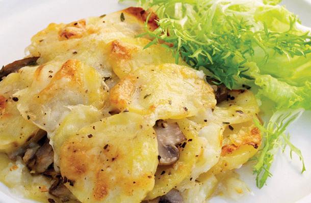 Recette du gratin de pommes de terre aux champignons