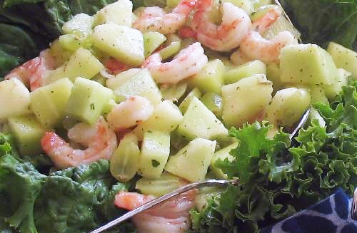 Salade de patates douces aux crevettes